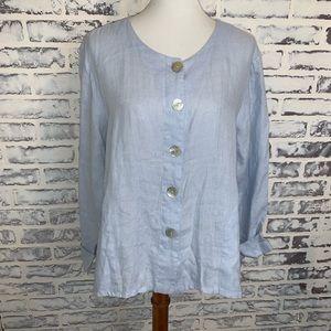 Flax Textured Button Front Shirt Sz M 100% Linen